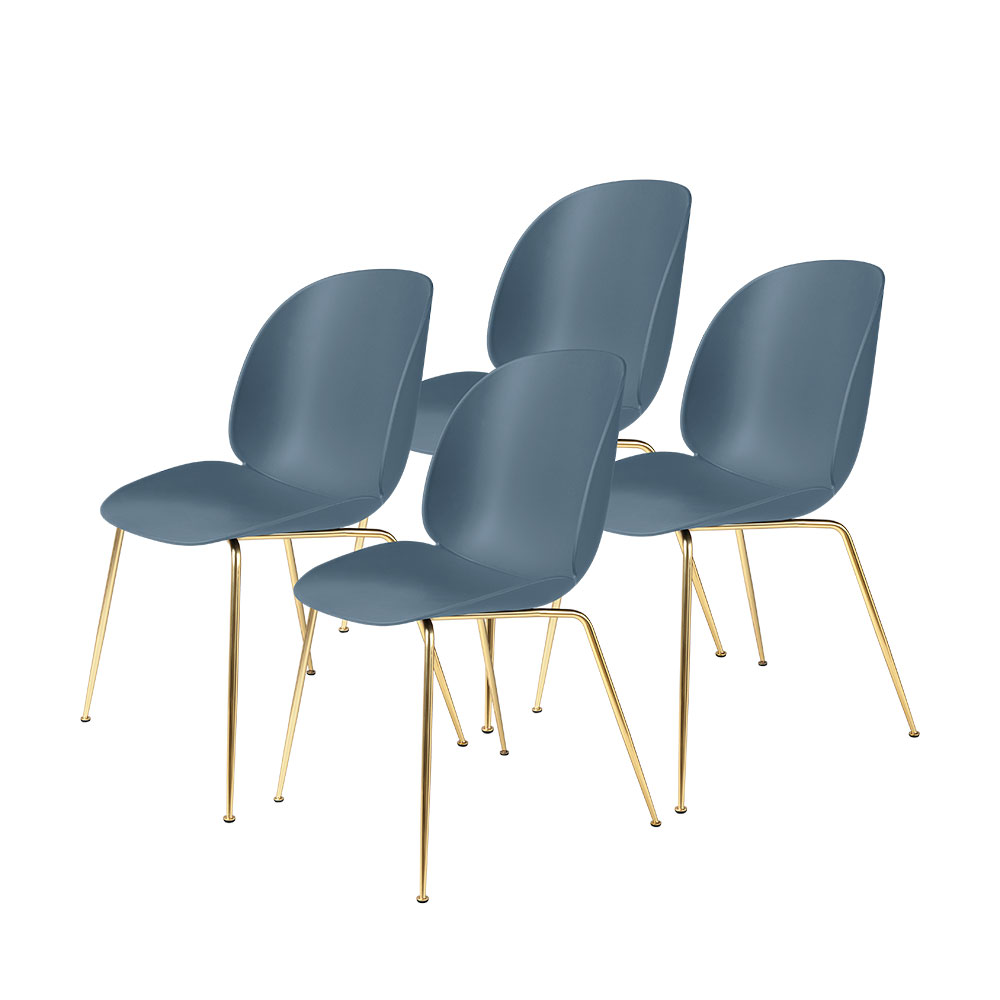gubi beetle dining chair conic brass unupholstered smoke blue group 1000