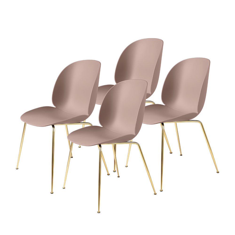 gubi beetle dining chair conic brass unupholstered sweet pink group 1000