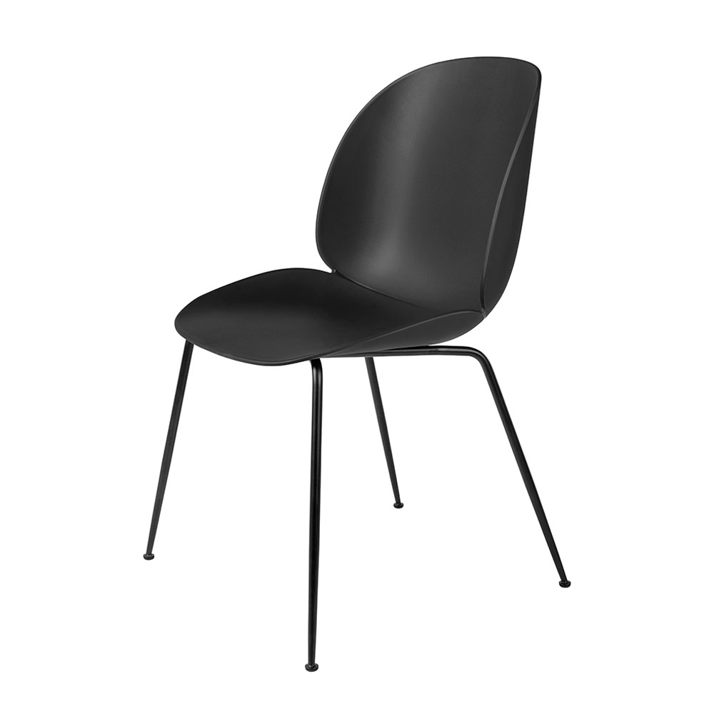 gubi beetle dining chair conic black unupholstered black main 1000