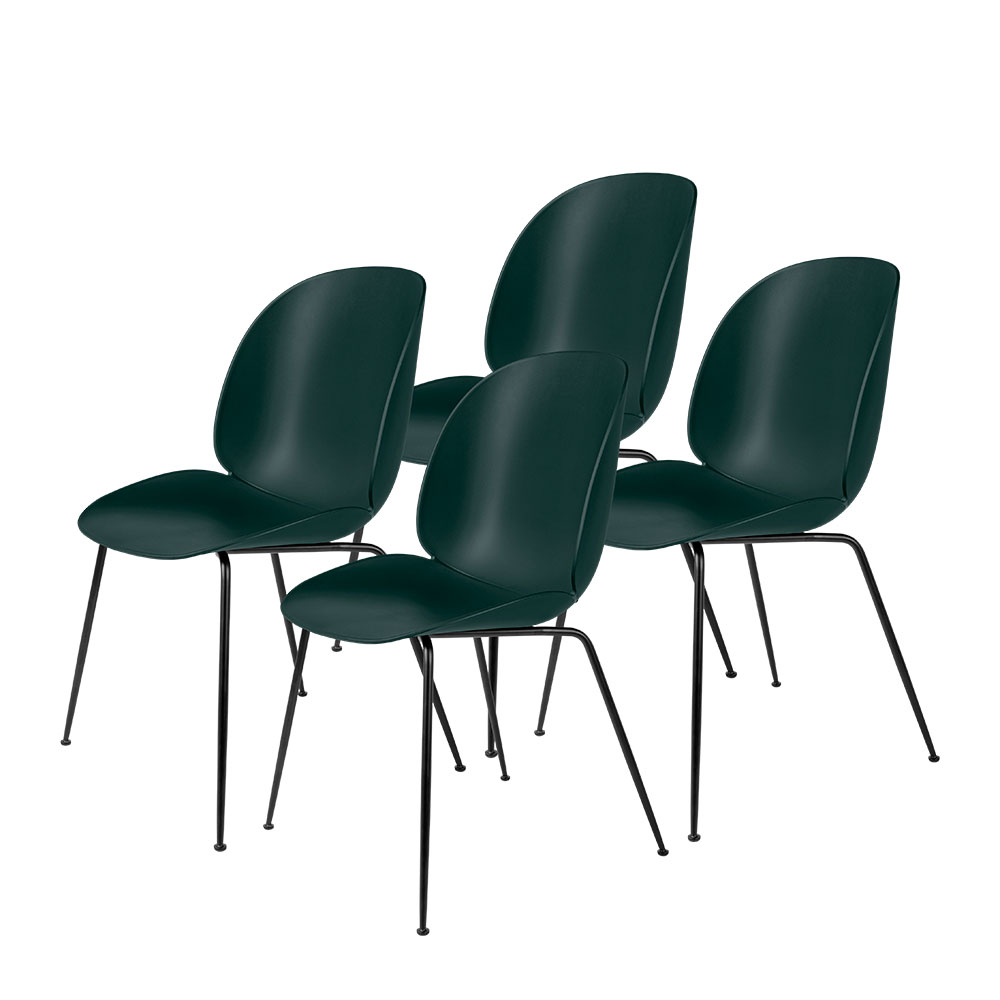 gubi beetle dining chair conic black unupholstered dark green group 1000