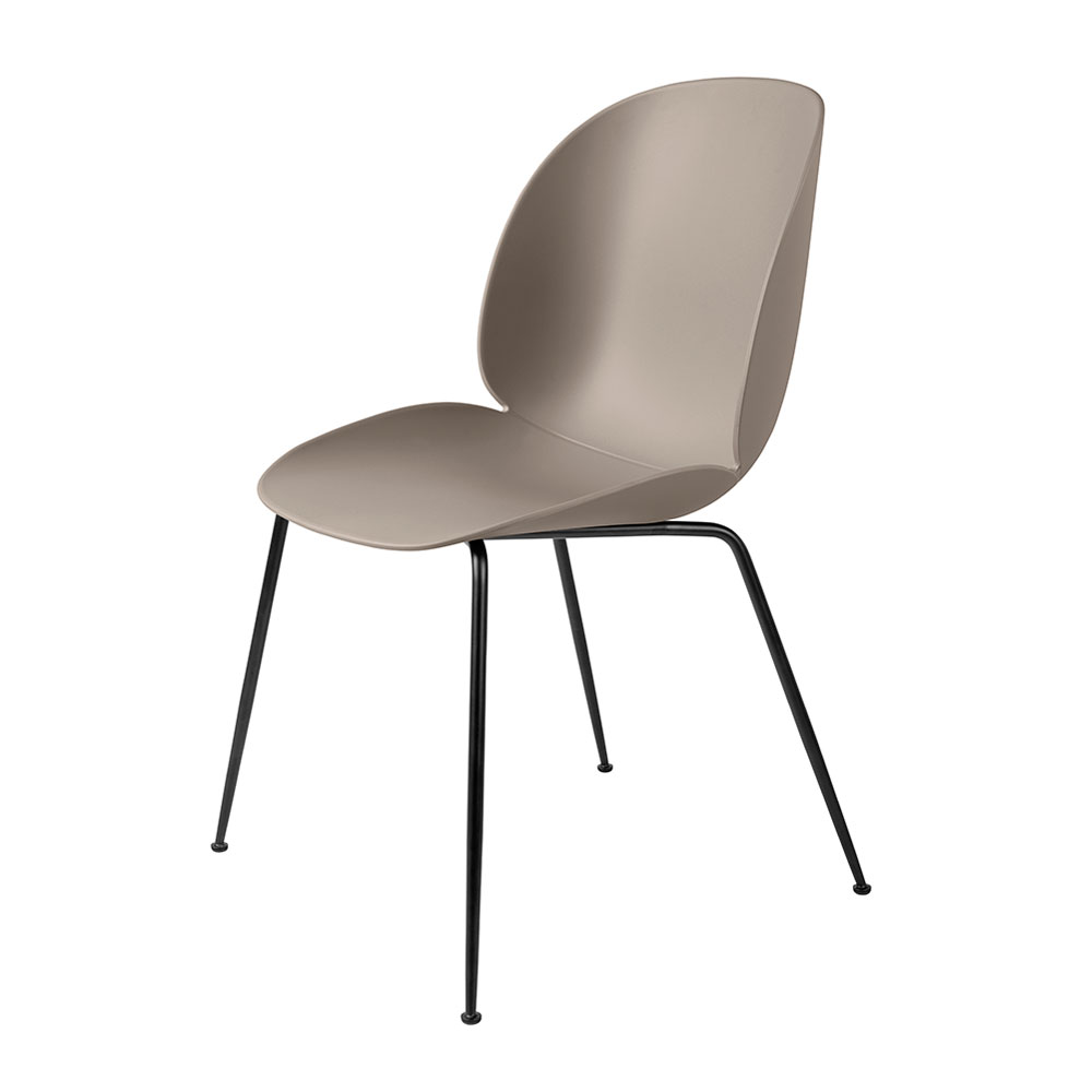 gubi beetle dining chair conic black unupholstered new beige main 1000