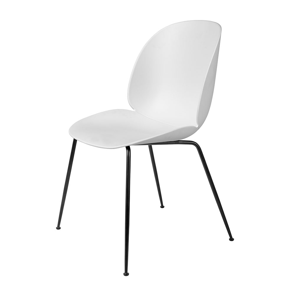 gubi beetle dining chair conic black unupholstered pure white main 1000