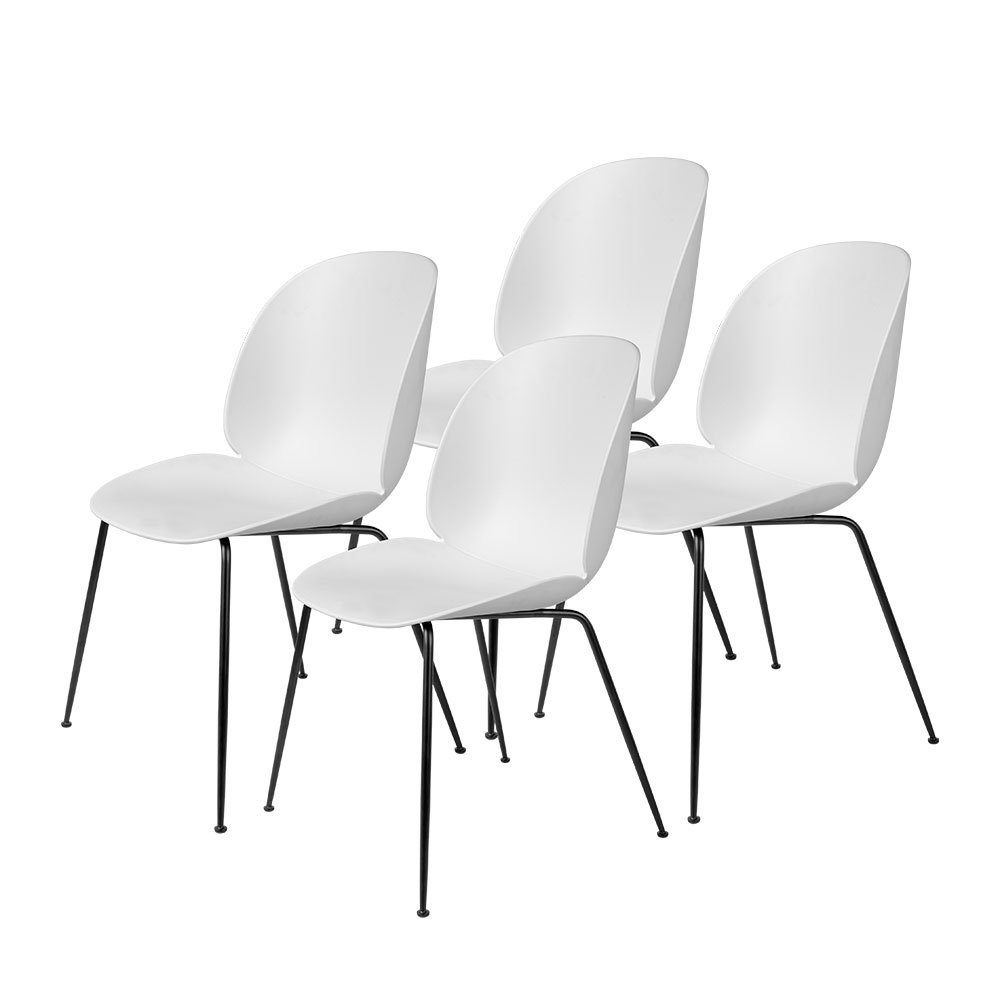 gubi beetle dining chair conic black unupholstered pure white group 1000