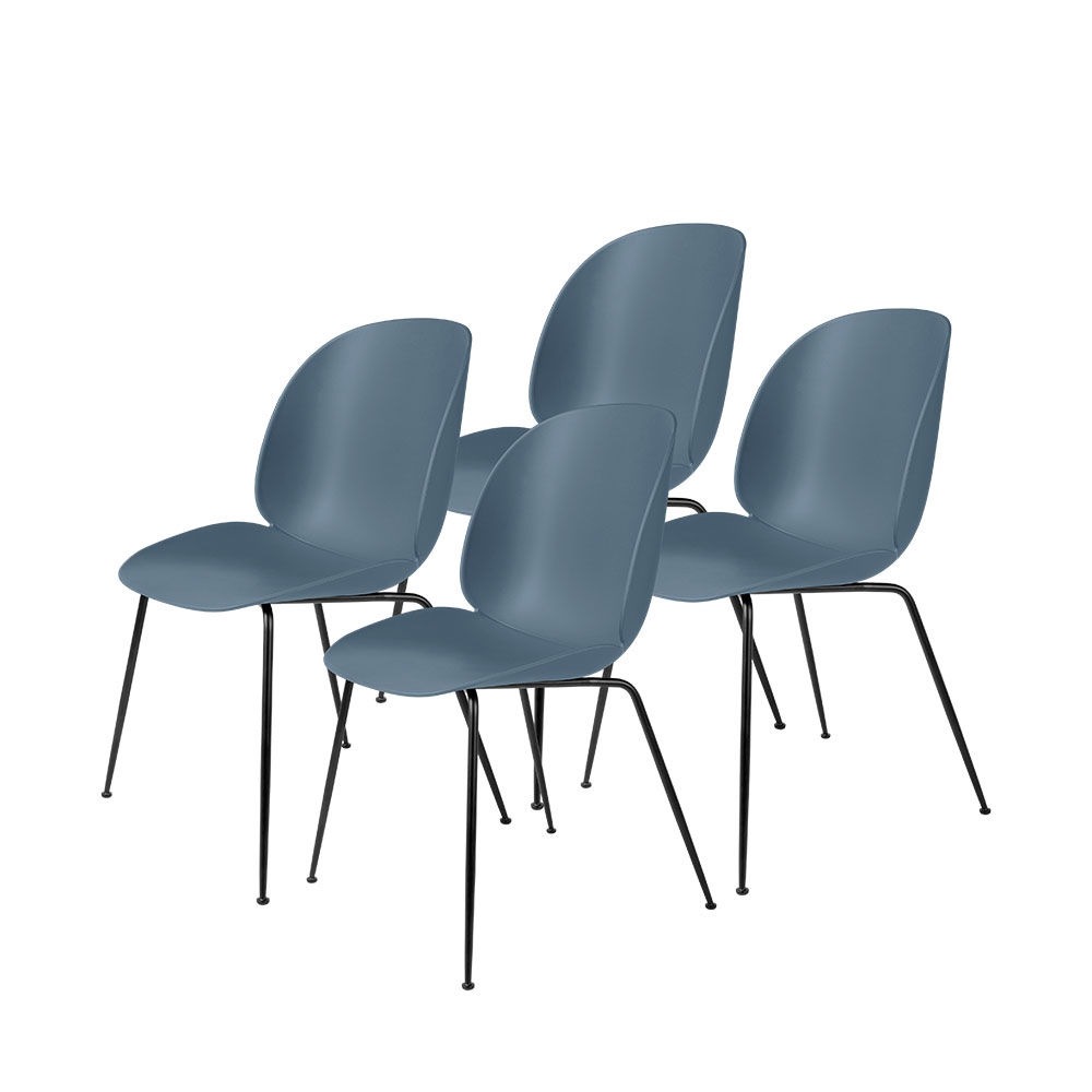 gubi beetle dining chair conic black unupholstered smoke blue group 1000