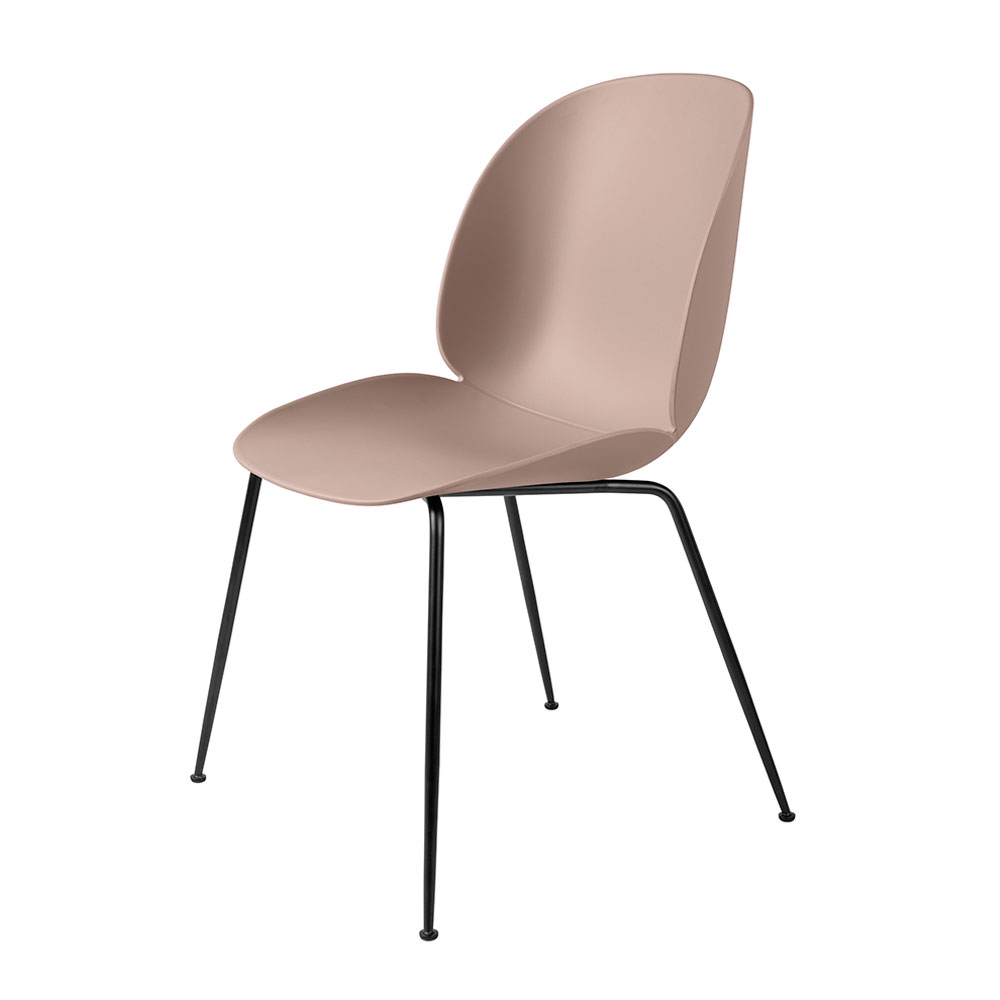 gubi beetle dining chair conic black unupholstered sweet pink main 1000