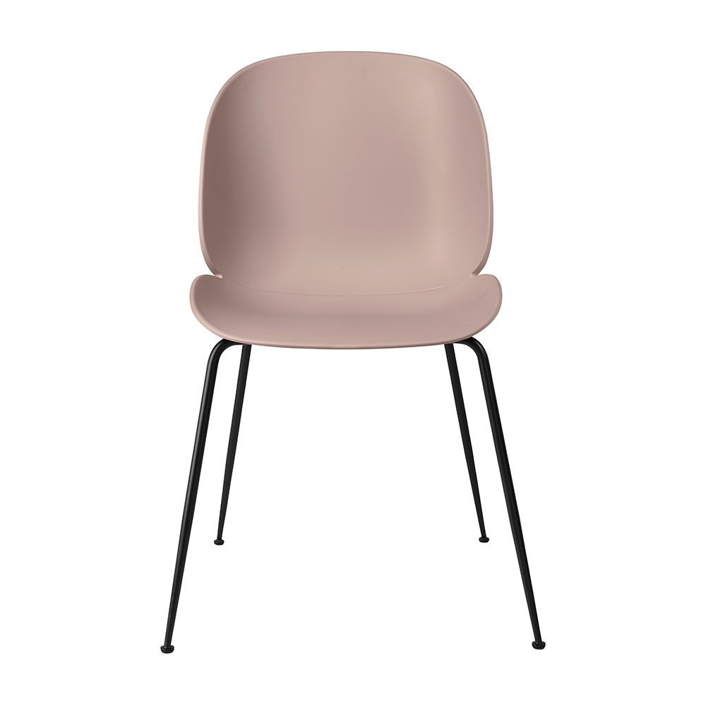 gubi beetle dining chair conic black unupholstered sweet pink front 1000