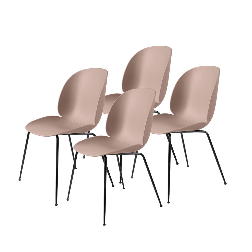 gubi beetle dining chair conic black unupholstered sweet pink group 1000