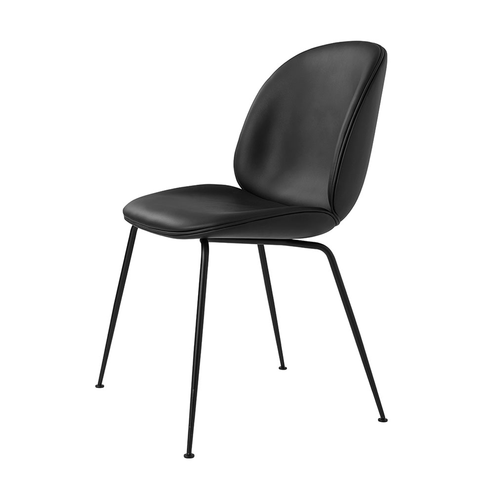 gubi beetle dining chair conic black fully upholstered black leather main 1000