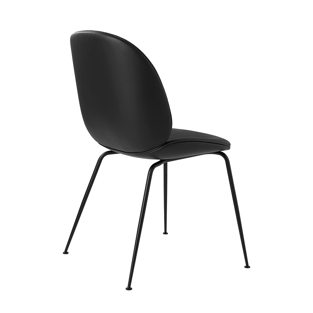 gubi beetle dining chair conic black fully upholstered black leather back 1000