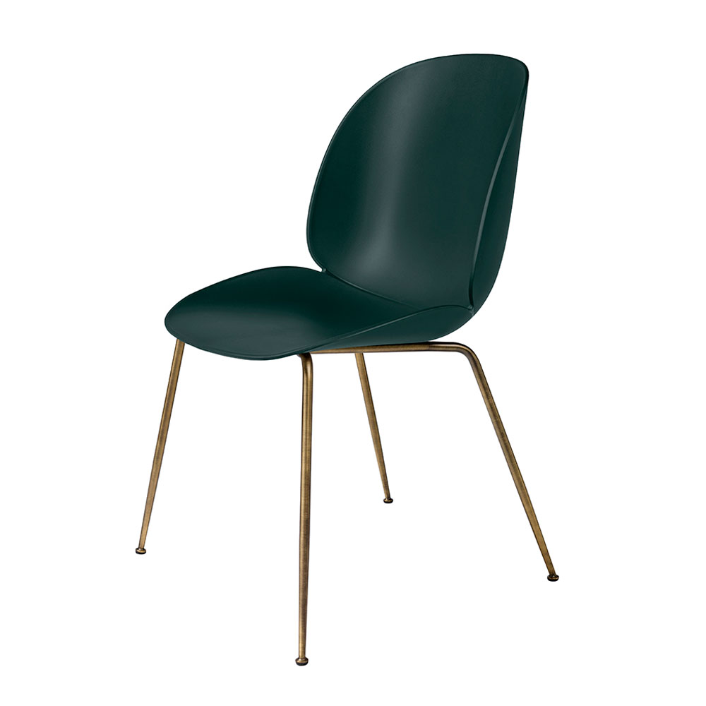 gubi beetle dining chair conic antique brass unupholstered dark green main 1000