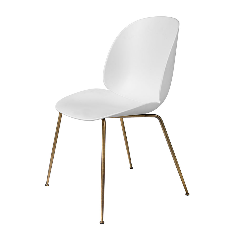 gubi beetle dining chair conic antique brass unupholstered pure white main 1000