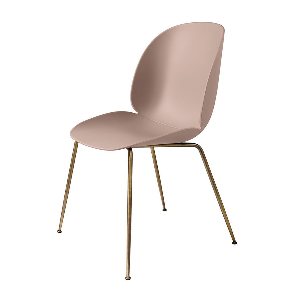 gubi beetle dining chair conic antique brass unupholstered sweet pink main 1000