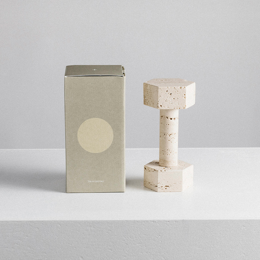 addition studio dumbbell travertine box 1000