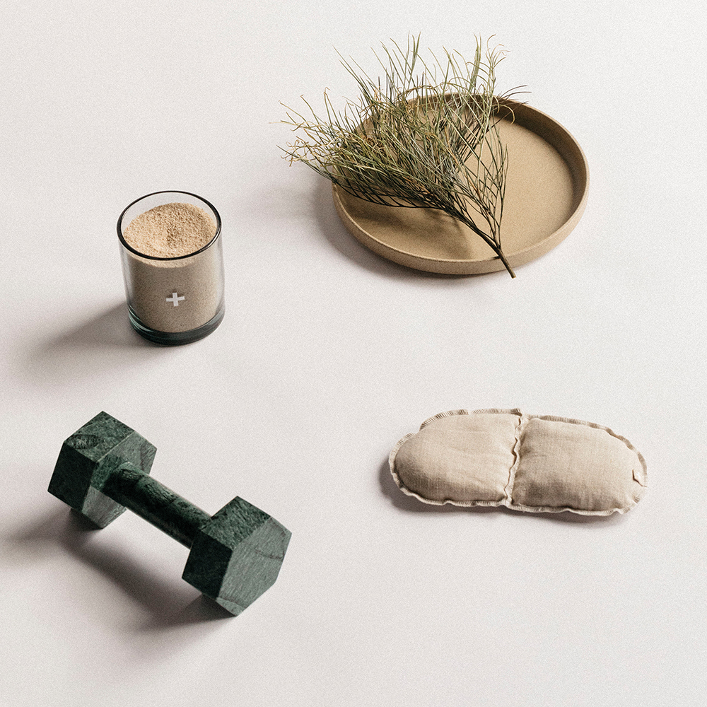 addition studio dumbbell green marble lifestyle 1000