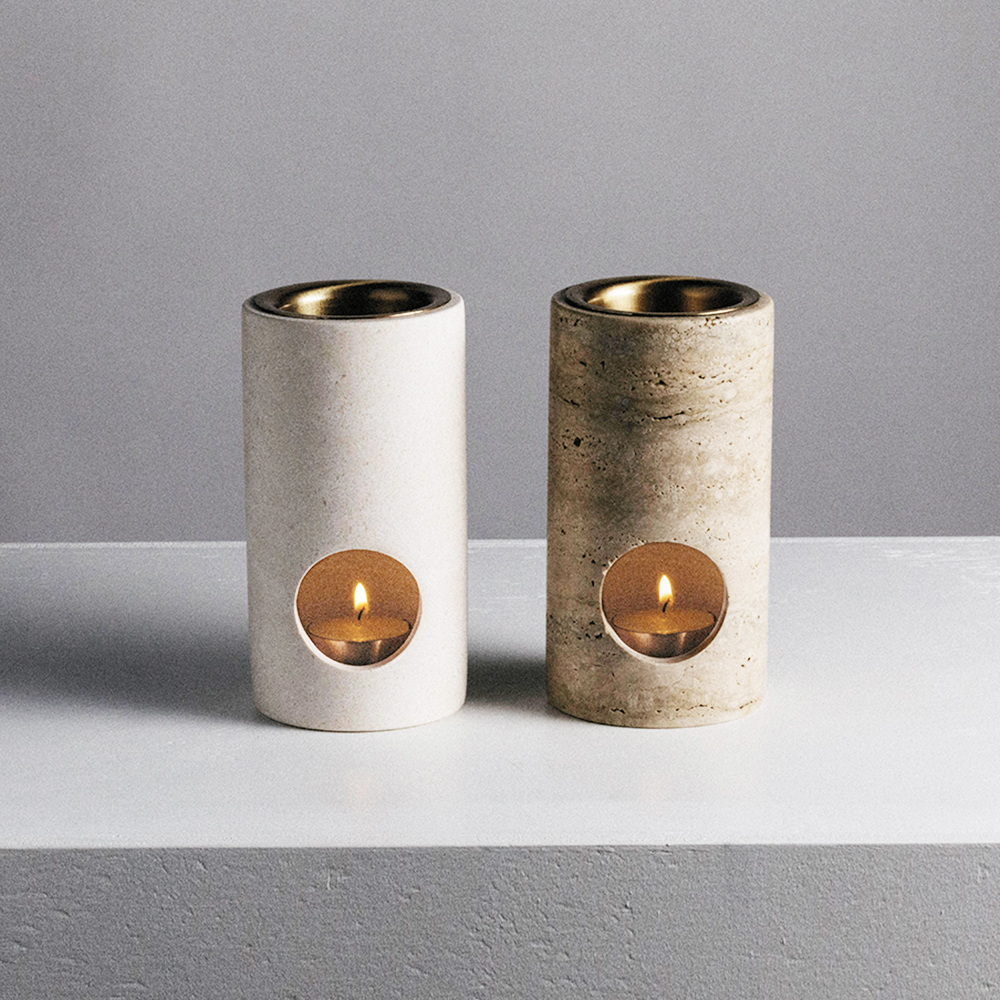addition studio synergy oil burner travertine limestone pair 1000