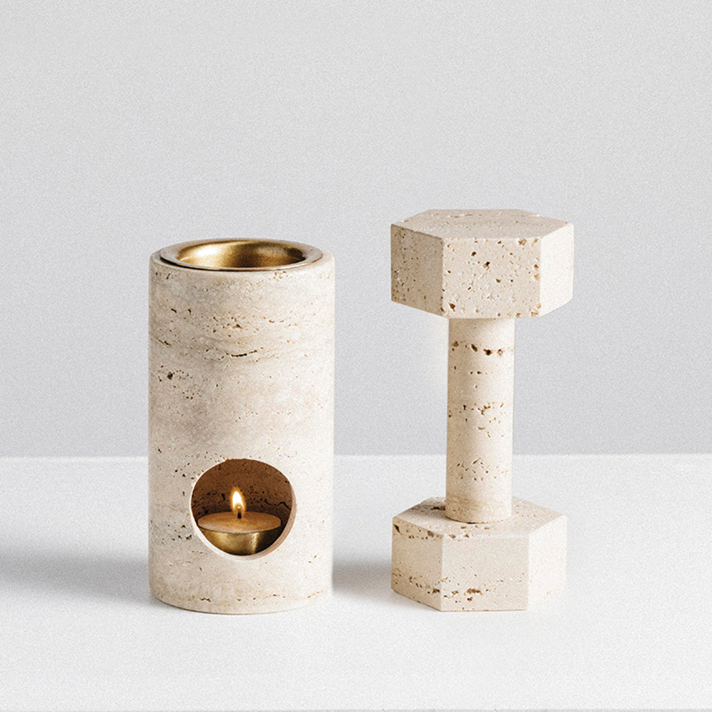 addition studio synergy oil burner dumbbell travertine 1000