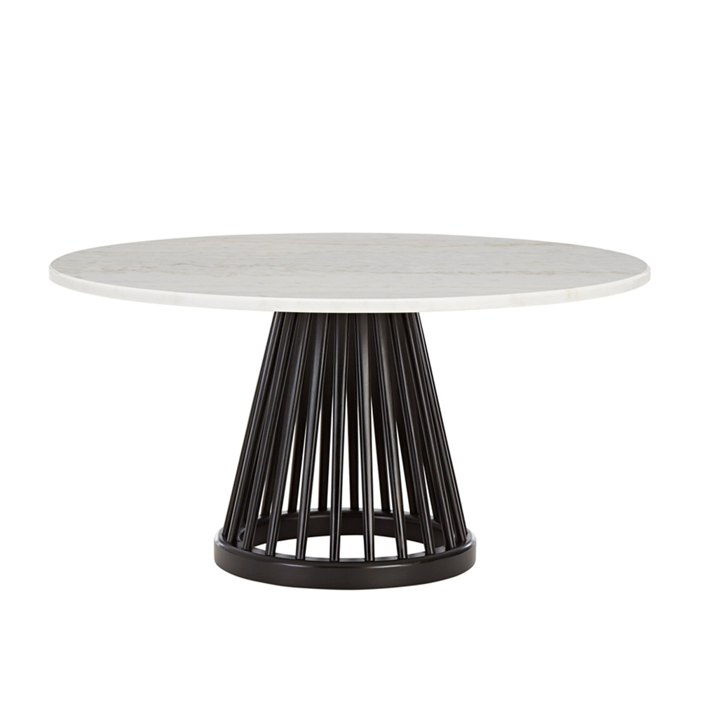 tom dixon fan table black base 900 white marble top 1000