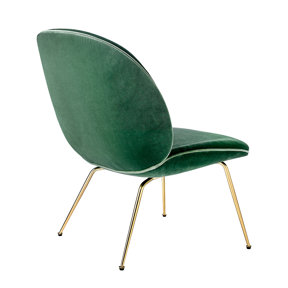 gubi beetle lounge chair conic brass velluto 234 back 1000