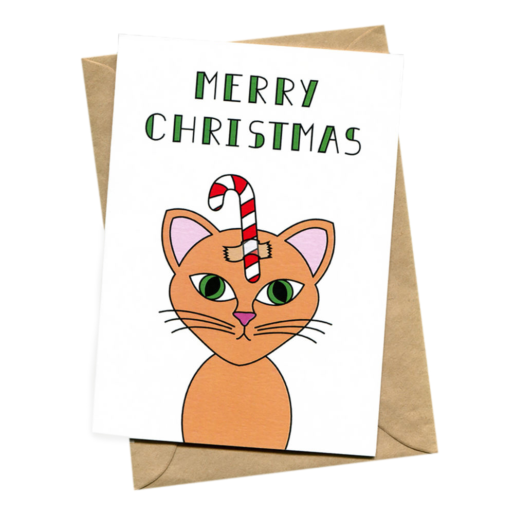 things by bean christmas cat cat christmas card 1000