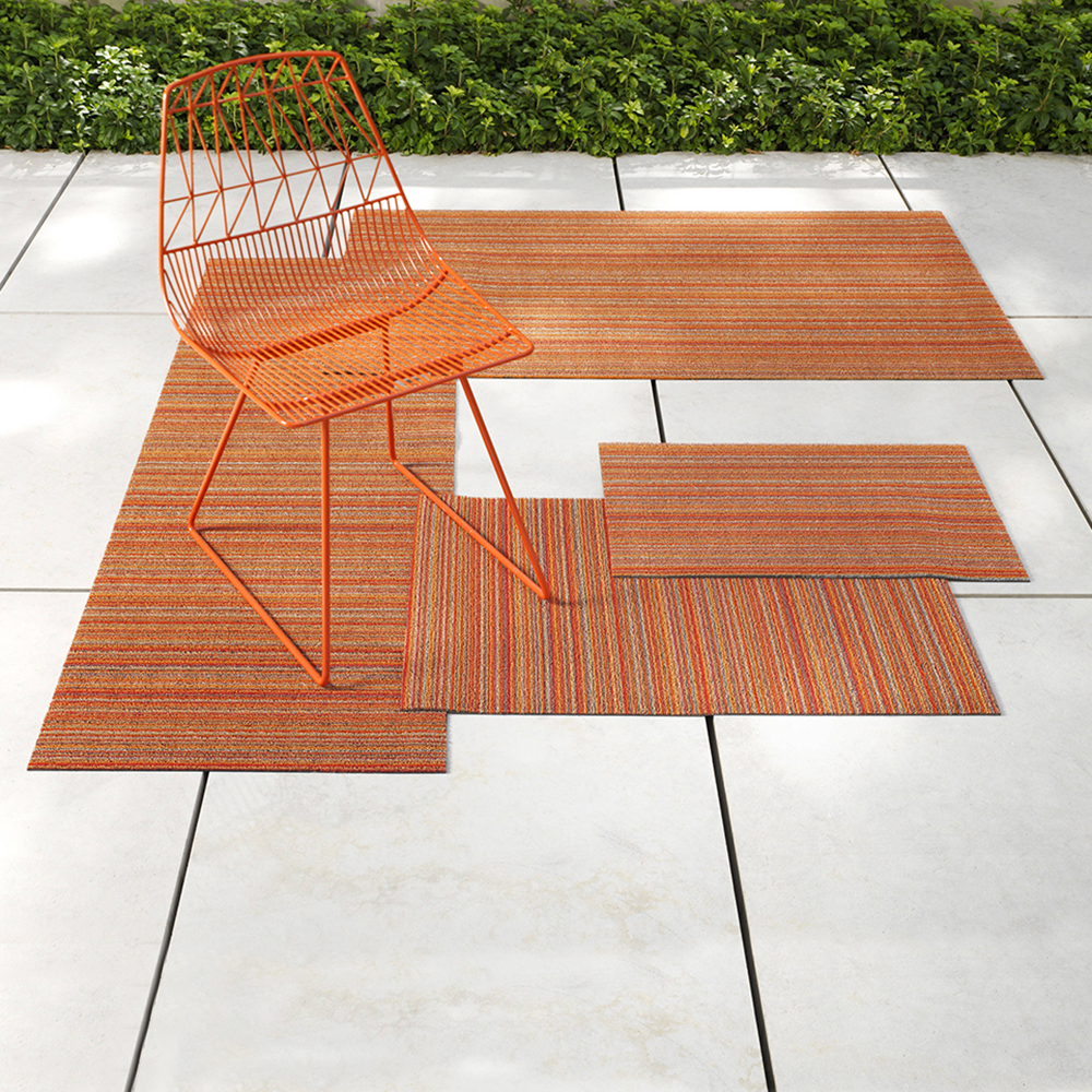 chilewich shag doormat skinny stripe orange lifestyle 02 1000