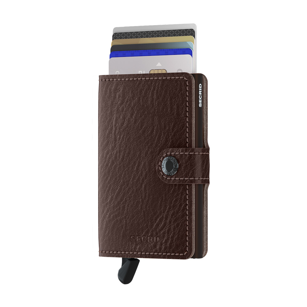 secrid miniwallet veg espresso brown front cards 1000