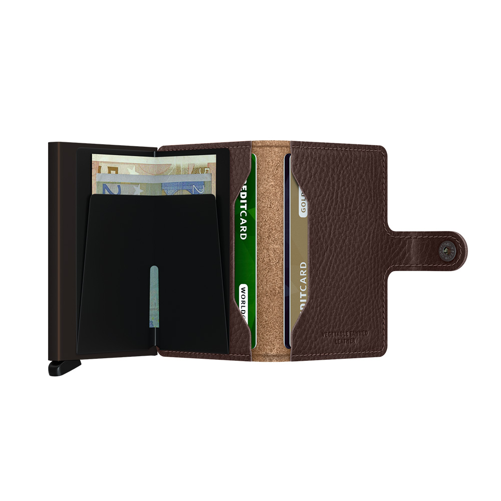 secrid miniwallet veg espresso brown open 1000