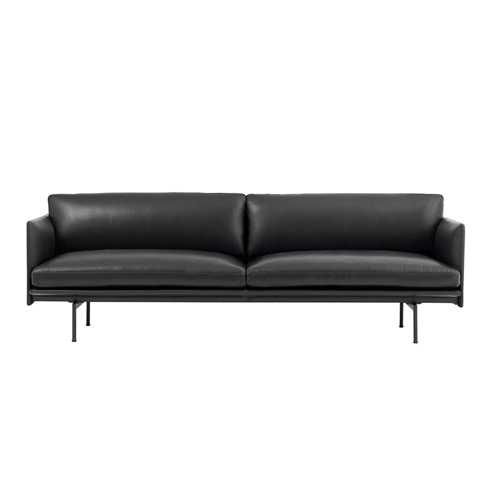 muuto outline 3 seater black refine leather 01 1000