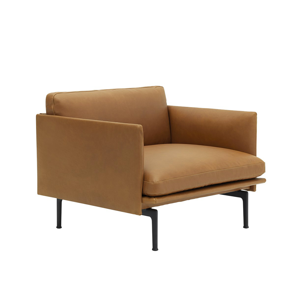 muuto outline chair cognac refine leather angle 1000