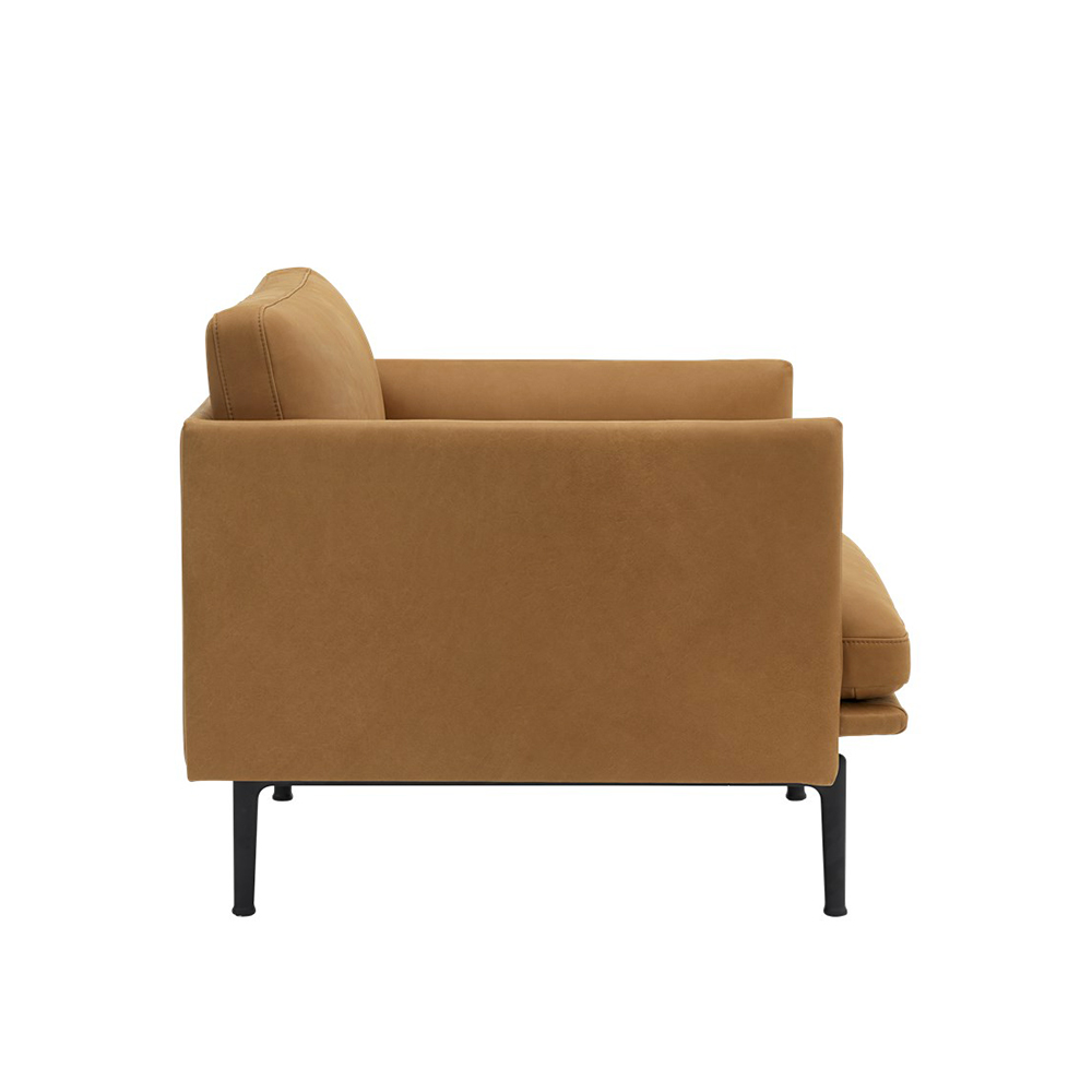 muuto outline chair cognac refine leather side 1000