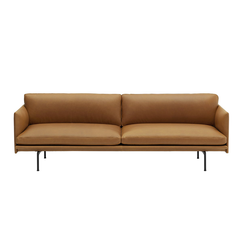 muuto outline 3 seater cognac refine leather 01 1000