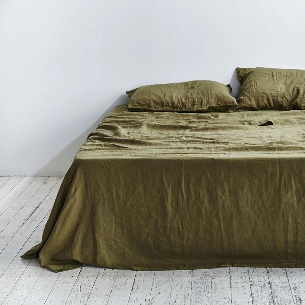 inbed linen sheet set moss 1000