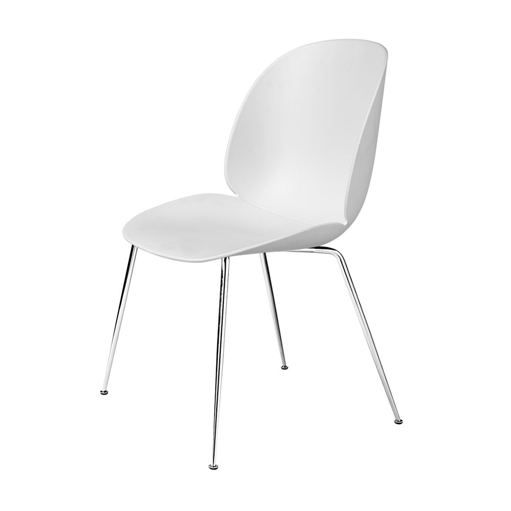 gubi beetle dining chair conic chrome unupholstered pure white main 1000