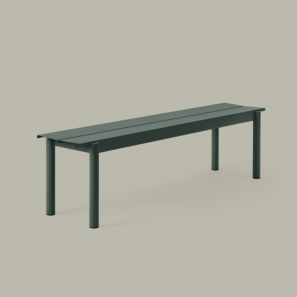 muuto linear table bench dark green 170cm 01 1000
