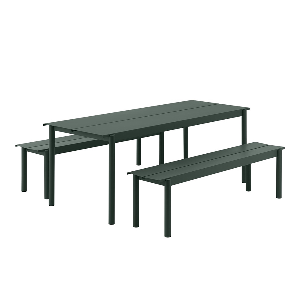 muuto linear table bench dark green set 1000