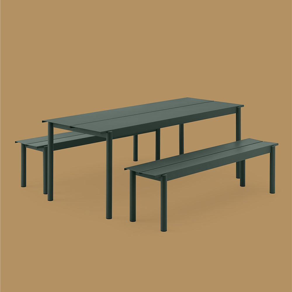 muuto linear table bench dark green set 01 1000