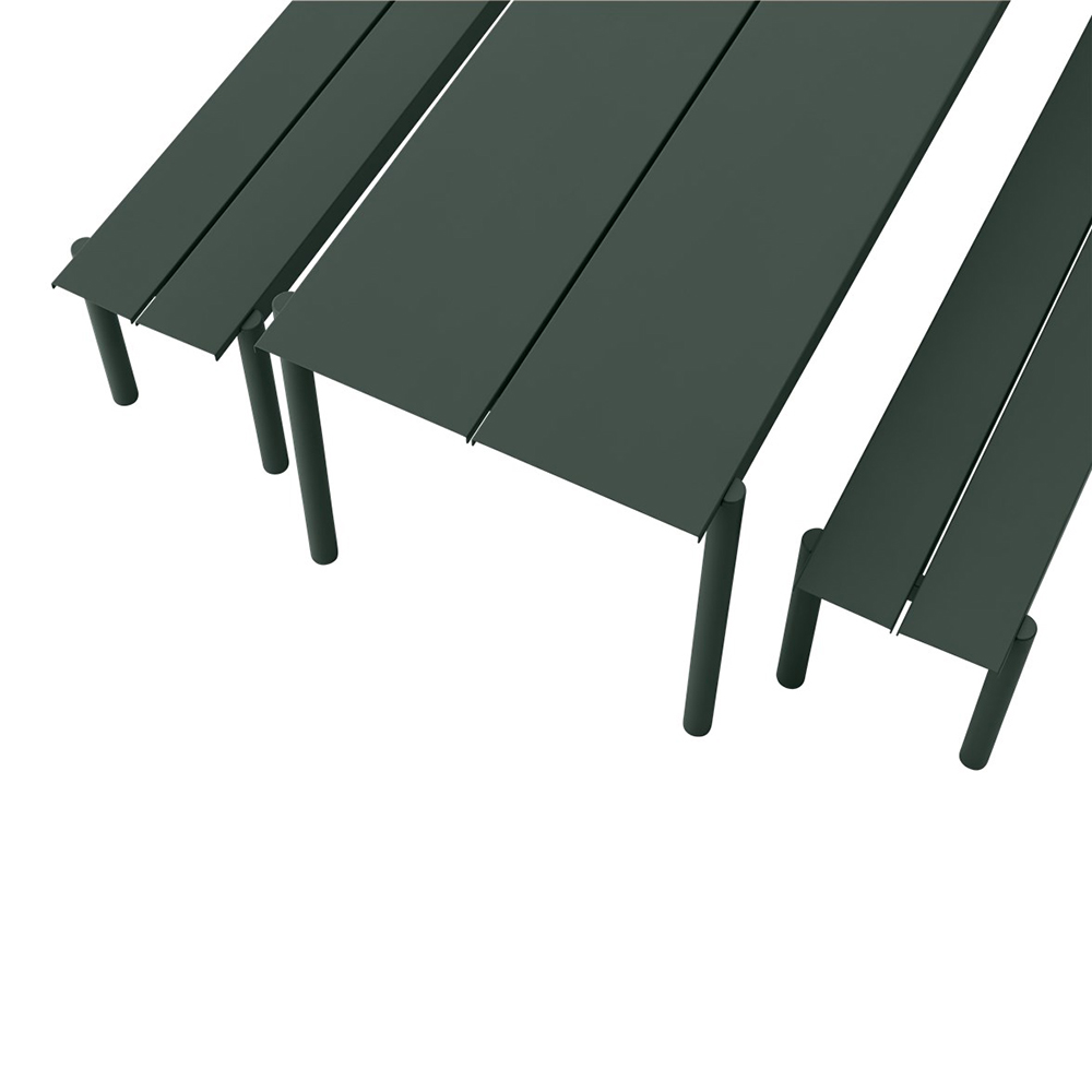 muuto linear table bench dark green set detail 1000