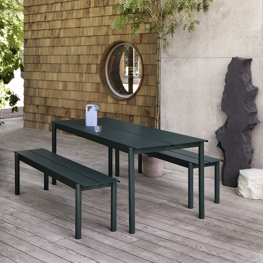 muuto linear table bench dark green lifestyle 01 1000