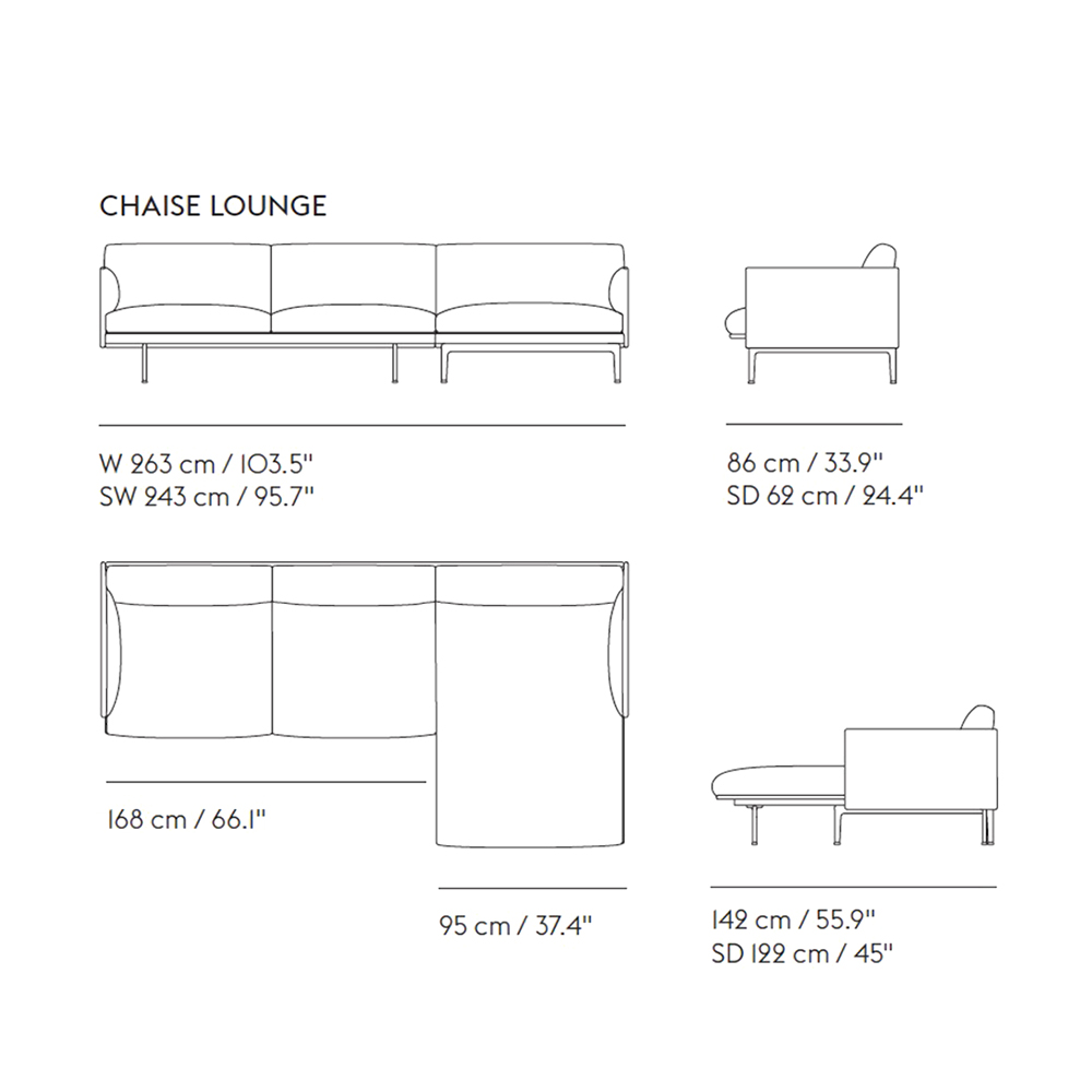 muuto outline chaise 3 seater dimensions 1000