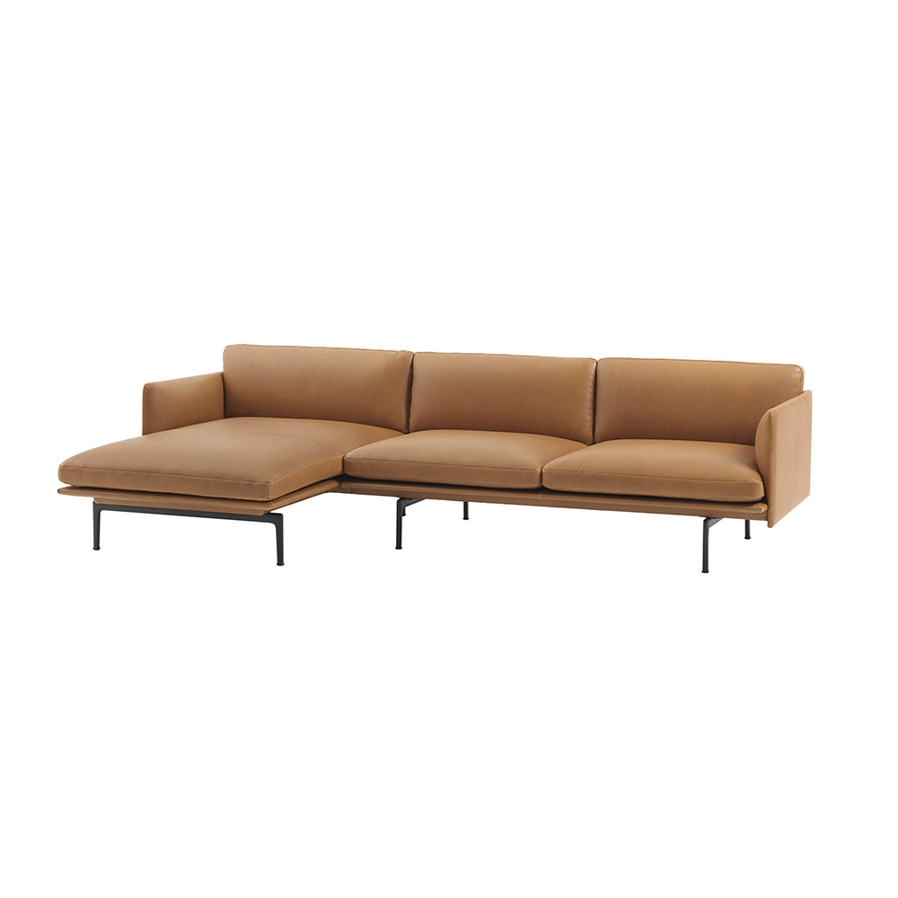 muuto outline chaise left 3 seater cognac leather side 1000