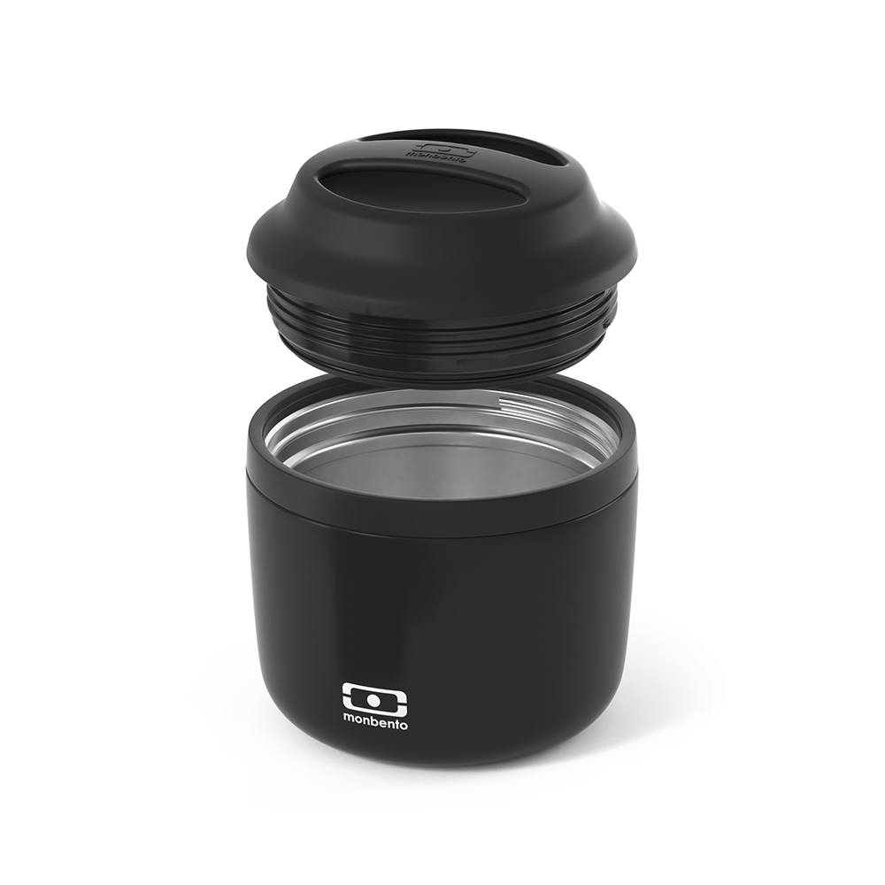 monbento element insulated lunch box black lid off 1000