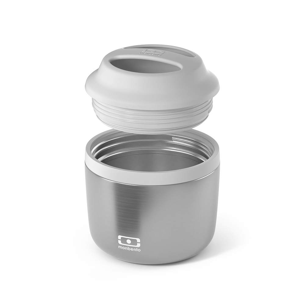 monbento element insulated lunch box silver lid off 1000